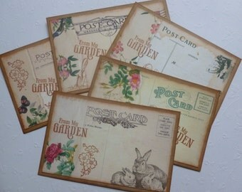 Gardening Postcards with envelopes vintage style garden themed hand stamped from my garden flowers bunnies birdcage - set of 5