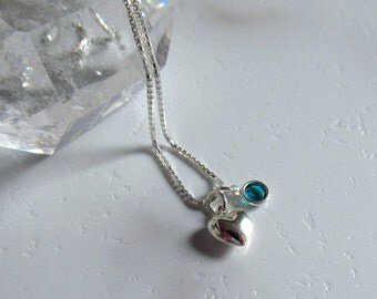 Valentine Heart Necklace, Sterling Silver, Swarovski Blue Zircon Crystal, choker chain, Dainty, Gift for Her, Sweetheart Jewelry