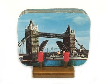Vintage London Coaster Set- 6 Hardboard Coasters with Cork Backs, Little Wood Stand