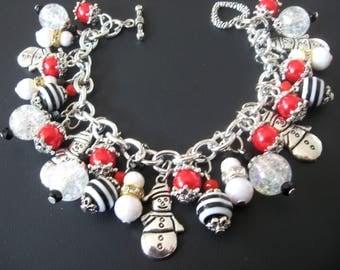 Snowman Jewelry, Snowman Bracelet, Christmas Jewelry, Christmas Bracelet, Holiday Jewelry, Holiday Bracelet, Black White Jewelry, Nature