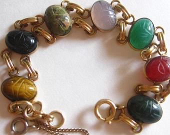Carved Scarab Bracelet Beetle Bug Safety Chain Tigers Eye Six Multi Colored Gem Stones 1/20 12KT GF Gold Filled Vintage
