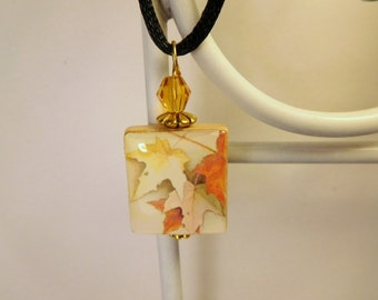 Fall Jewelry - Scrabble Pendant / Leaves Necklace with Satin Cord / Upcycled Charm