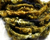 Handspun SoftTextured Wool Bulky Art Yarn in Smooth Black and Bronze Copper Green Curls by KnoxFarmFiber for Knit Weave Embellishment