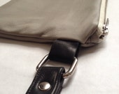 Leather Wristlet--color block gray/black/white