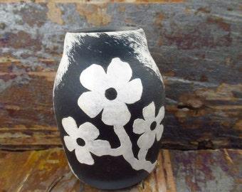 Mini Glass Vase - Blue and White -  Sandblasted with Cheery Flowers - Welsh Glass Vase - Glass Flower Vase - Seaglass inspired -