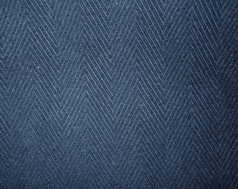 Navy Blue Herringbone Woven Fabric for Upholstery  Slipcovers Apparel Home Decorating