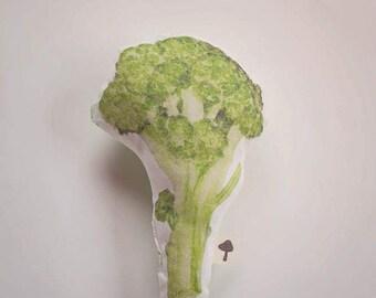 Watercolor Broccoli Plush Baby Rattle
