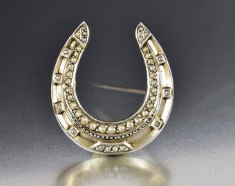Antique Silver Seed Pearl Horseshoe Brooch, Sterling Victorian Pin, Wedding Anniversary Good Luck Charm Equestrian Gift Protection Amulet