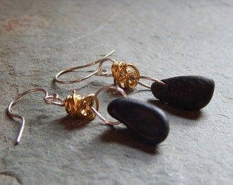 Basalt beach stone earrings with brass tangle, river rock, pebble, drilled beach stone, mixed metals, summer, organic, ocean, sea, shore