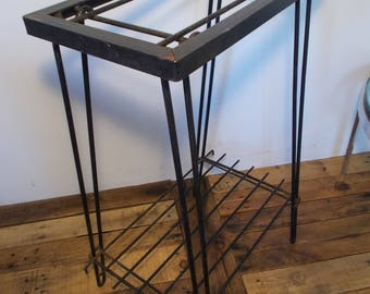 INDUSTRIAL 1960s Patio Table Wrought Iron Hairpin Legs Two Tier Comes Apart in 4 Sections Heavy Duty Mid Century Garden Home Eames Camping