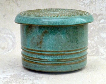 French Butter Crock in Speckled Aqua - Always Soft Butter