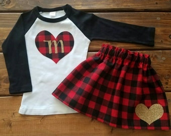 Valentines Outfit, Valentines Day Shirt, Buffalo Plaid, Initial Shirt, Gold Glitter, Christmas Skirt, Girl Holiday Outfit