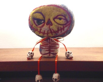 Needle Felted Skeleton Toy Shelf Sitter ready to ship