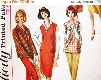 SALE 25% Off 1960s Jumper Pattern Misses size 12 Womens V Neckline Jumper, Blouse, Top S,kirt and Pants Vintage Sewing Pattern 60s