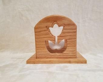 oak scrolled tulip napkin holder
