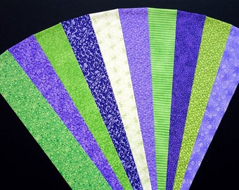 Fabric Green Purple Cotton Jelly Roll Quilting Strip Pack Material Die Cut 20 Strips (sku JR210-GRPUbd)