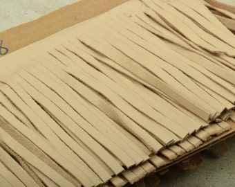 light taupe  Leather Fringe for embellishment of purses , jackets or other accessories, sold by ft (30 cm) - C1026/88