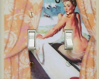 Double pinup Switchplates & MATCHING SCREWS- Pinup girl pinup decoration humorous art pin up wall art Gil Elvgren art print pinup funny art