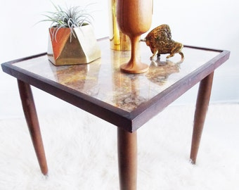 Mid Century Marble Nesting Table/ 1950s Teak Marble Side Table/ 50s Copper Gold  Coffee