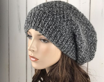 Hand knit woman hat - Oversized Chunky Wool Hat, slouchy hat,  charcoal white hat, winter hat-ready to ship