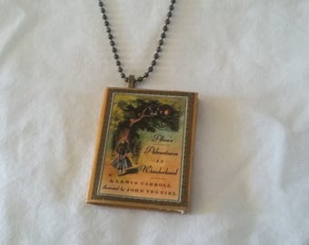 Alice in Wonderland - Mini-Book Pendant - Alice in Wonderland Jewelry - Alice & the Cheshire Cat - Lewis Carroll - Alice in Wonderland Book