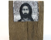 Hiding places by Ingrid Blixt - Our Christ - original encaustic mixed media carved in reclaimed barn wood with silver leaf