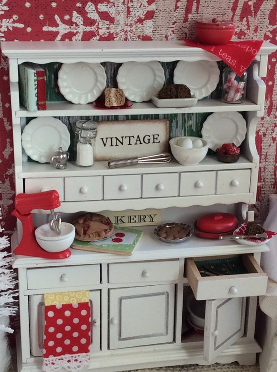 Miniature Dollhouse White and Red Dish Hutch-1:12 Scale