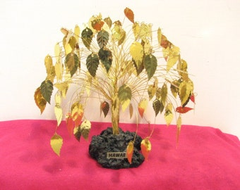 Gold Leaves Tree, Hawaii Golden Leaf Wire Art Sculpture, Vintage Mid Century Hawaiian Metal Tree