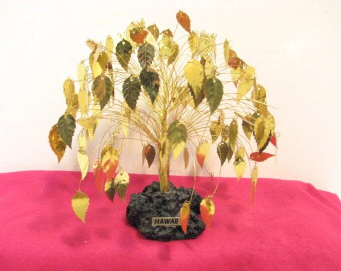Vintage Gold Leaves Tree, Hawaii Golden Leaf Wire Art Sculpture, 1970s Mid Century Hawaiian Metal Tree