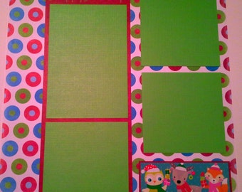Christmas Pre-Made 12x12 Page, Scrapbook, Happy Holidays Scrapbooking