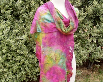 Nuno felted Merino Silk Cotton Gauze scarf wrap by plumfish pinks greens