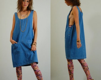 Modern Sack Dress Vintage 90s Textured Denim Oversized Slouchy Sack Dress (os)
