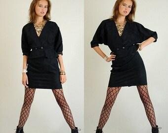 sale 25% rainy days sale Crop Jacket and Mini Skirt Vintage Black Textured Floral Crop Jacket and Mini Skirt Set (s m)