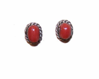 Native American STERLING SILVER & Red Coral Pierced Earrings/Studs