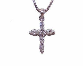 Vintage Cross, Sterling Silver, Sterling Cross, Silver Cross, Religious Cross, CZ Pendant, Cubic Zirconia Pendant, Cross Pendant
