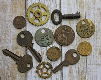 Vintage Found Objects- Brass TAG- KEYS GEARS- Coins- Trinket Lot- Repurposing Upcycle Supply for Altered Art- Mixed Media- C3