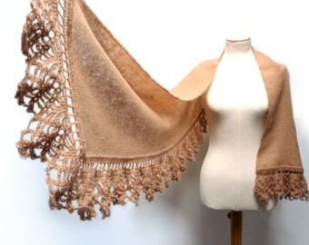 Handwoven and Crochet Shawl Scarf - Beige Camel and Gold Kid Mohair Stole with Crochet Lace Borders