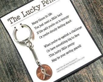 The Lucky Penny - Original Poem And Keychain - Shown With Awareness Ribbon Charm