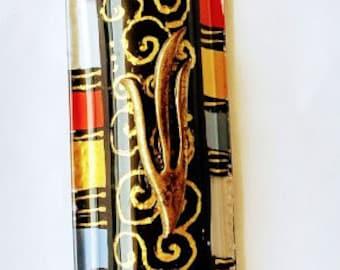 Glass mezuzah Decor Art GIFT handmade paint Scroll