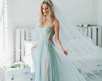Blue Wedding Veil, Bridal Veil, Cathedral Veil, Fingertip Length Veil, Tulle Veil, Blush Veil, Gray Veil, Chapel Veil, Ivory Veil 0802