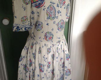 Cotton day dress 1950s for fabric use
