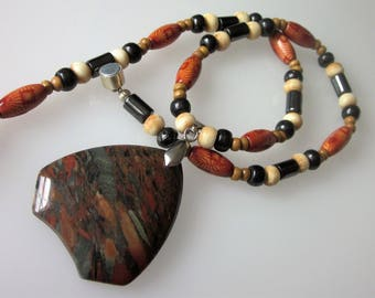 Jasper Necklace, Southwestern Flame Jasper, Beaded Gemstone, Jasper Pendant, Buffalo Bone Beads, Magnetic Necklace, Unisex