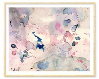 Abstract Watercolor Print, Pastel Pink, Abstract Print, Whimsical Art, Pink and Grey, Living Room Art, Ethereal,Rose Quartz Art, 11x14 Print