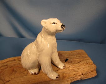 POLAR BEAR of BONE China, three inch tall Bone China Figurine, small polar berar statue, Snow white Fine China Polar Bear figure, polar bear