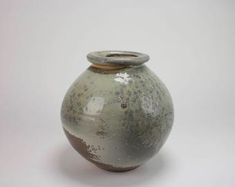 Wood-fired Porcelain Vase: Gray, Brown, with Accents of Purple and Green