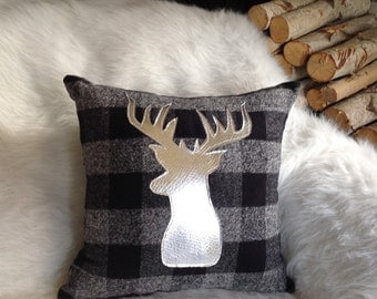 Silver Deer Pillow, Buck Pillow, Lodge Decor, Cabin Decor, Antler Pillow, Pillow, Decorative Pillow, Gifts Under 30