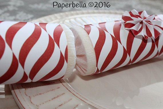 Fill Your Own Party Crackers Christmas Red White Swirls Candy Cane Peppermint Party Popper Personalize with Monogram and a Paper Rosette