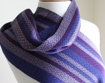 Purple feathers handwoven tencel scarf.