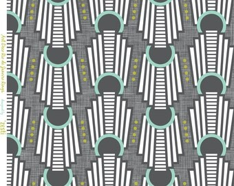 Art Deco Fabric - Art Deco Rings Rio De Janeiro Charcoal Grey By Zesti - Modern Art Deco Cotton Fabric By The Yard With Spoonflower