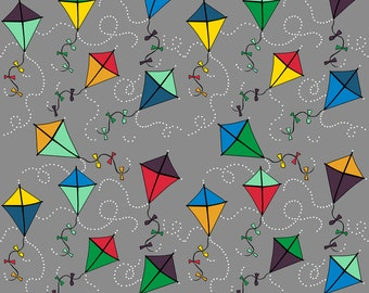 Gray Kite Fabric - Kites Blustery Day In Cloud Dream Kangaroo By Kheckart - Kids Kite Classroom Cotton Fabric By The Yard With Spoonflower